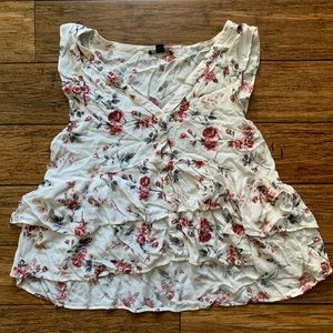 White Floral Multi Tiered Sleeveless Blouse